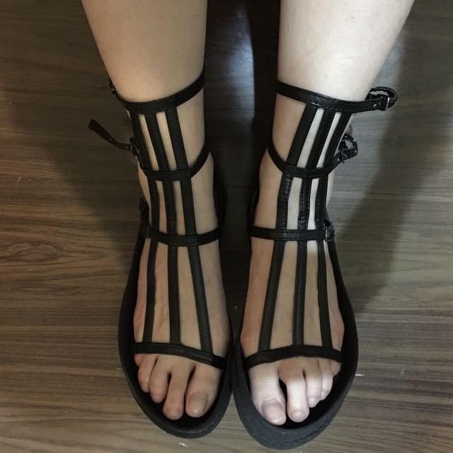 高筒皮革羅馬涼鞋