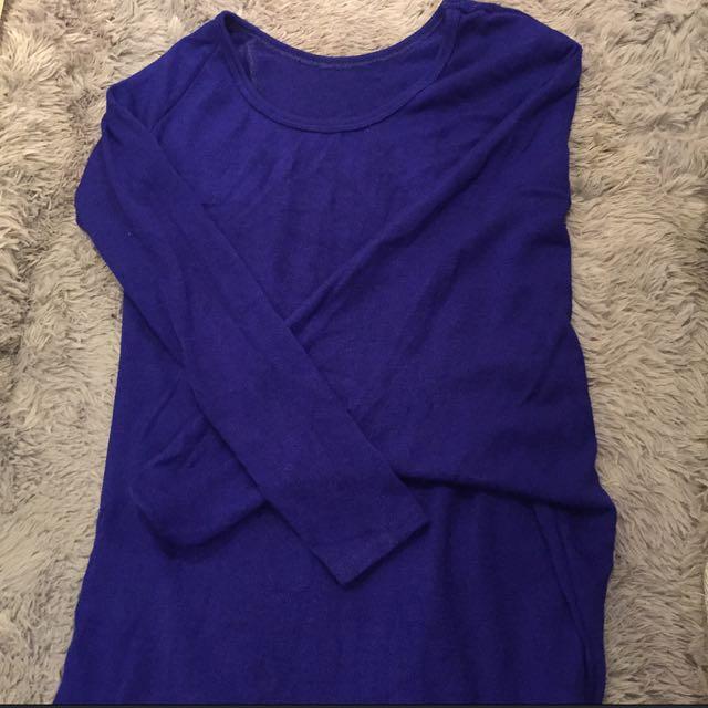 💓長版不規則寶藍洋裝💕
