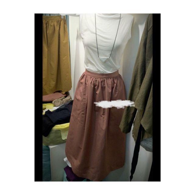 正韓/珊瑚紅口袋圓裙