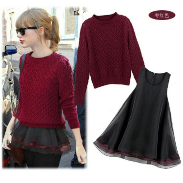 【出清】氣質針織毛衣蓬蓬裙兩件套裝-酒紅色