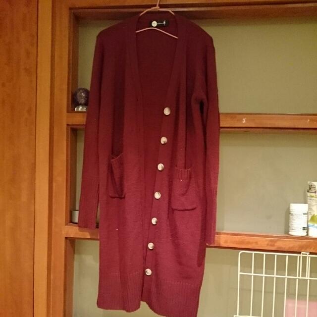 酒紅色針織長版外套