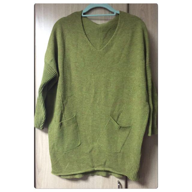 ✨長版飛鼠袖墨綠毛線上衣✨