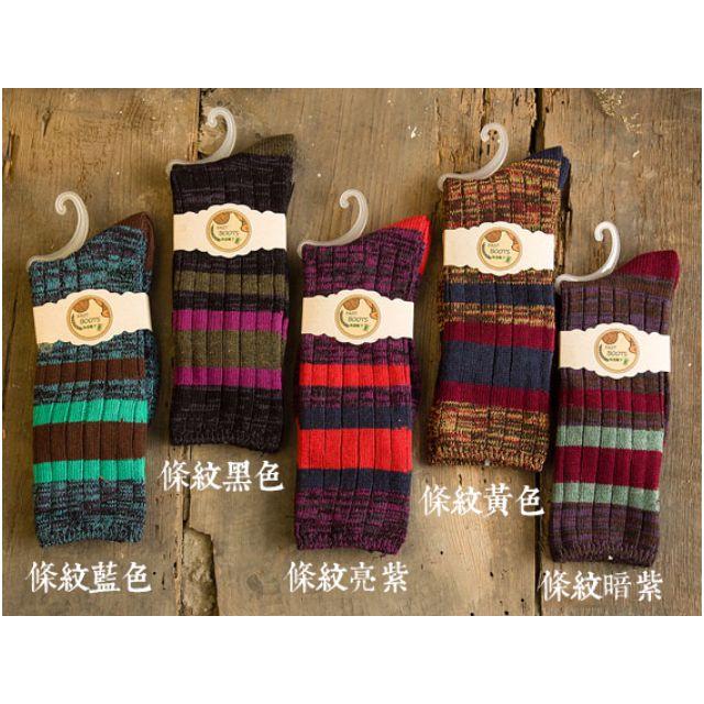 (現貨 條紋藍綠x2  條紋黑色x1)秋冬百搭復古中筒襪子 款式D