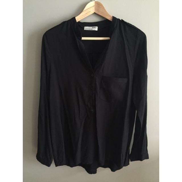 Black Cotton LS Top