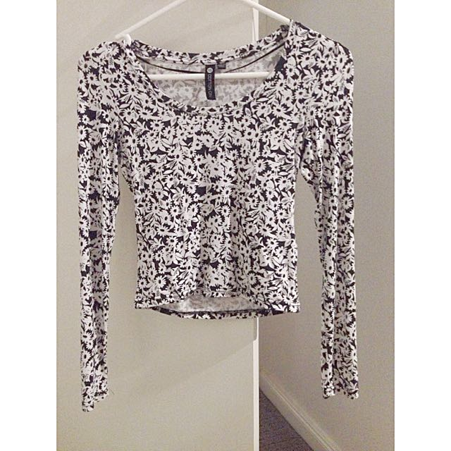 Black&White Flower Top, Longsleeve