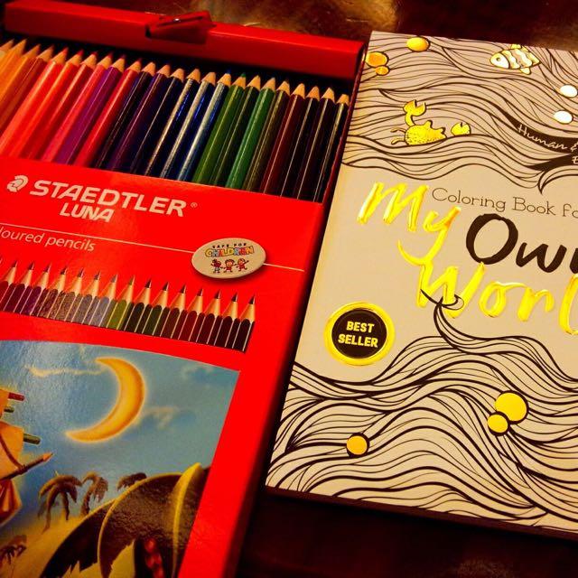 Coloring Books For Adults My Own World Book Buku Alat Tulis Di