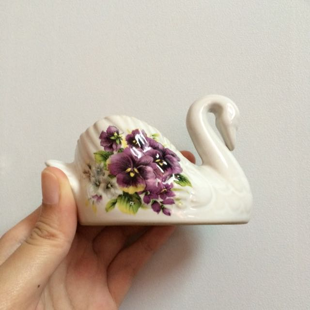 Decorative Clay Container - Swan