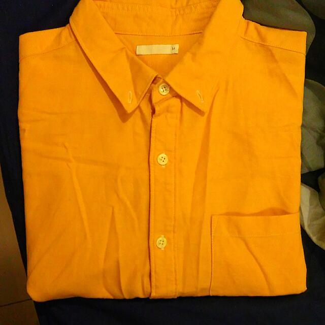 GU 七分袖 襯衫 土黃色 男款 9成新