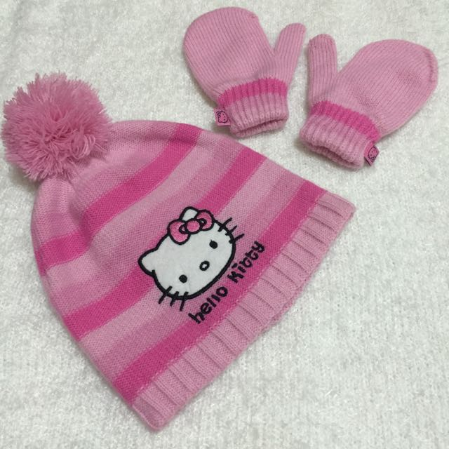 Mothercare Hello Kitty Winter Hat And Mittens For 1-3years Old ... d9ed0d77c6b4