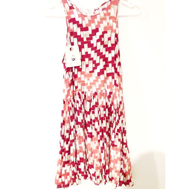 New! Red Patterned Dress