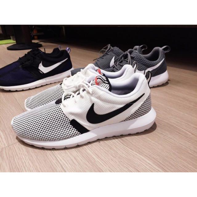 Nike Rosheone Roshe Run NM BR 白黑 白色 洞洞鞋 透氣 灰白 網布 女鞋 24cm現貨