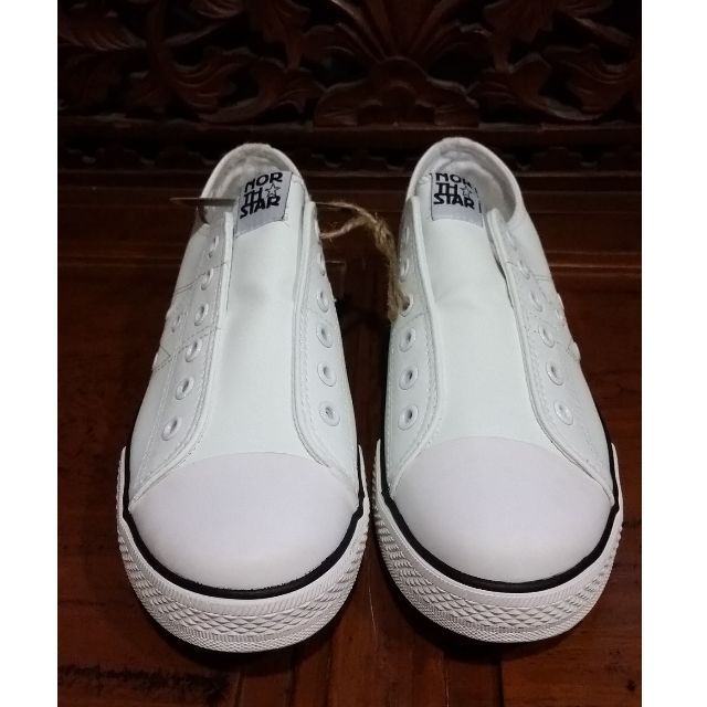 North Star White Shoes (no shoelaces style), Women's Fashion, Shoes on  Carousell