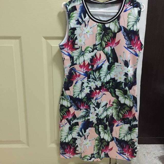 Tropical Pink Bodycon Dress