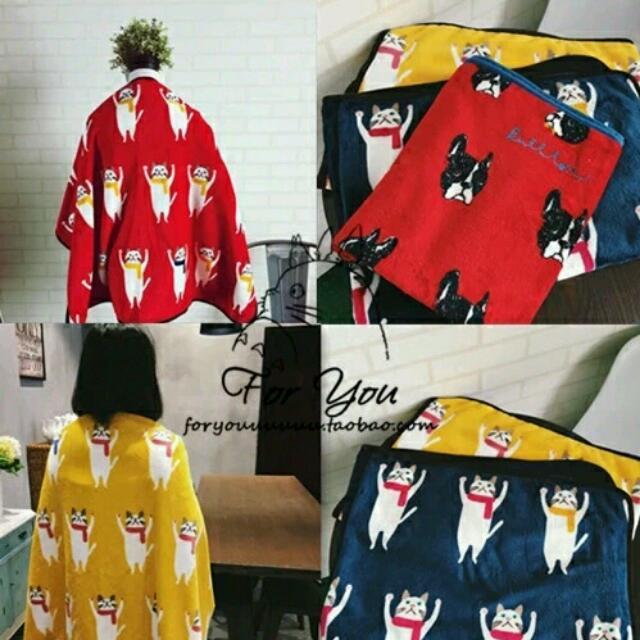 韓ulzzang卡通貓星人珊瑚絨毛披肩毛毯貓咪辦公室學生保暖毯空調毯