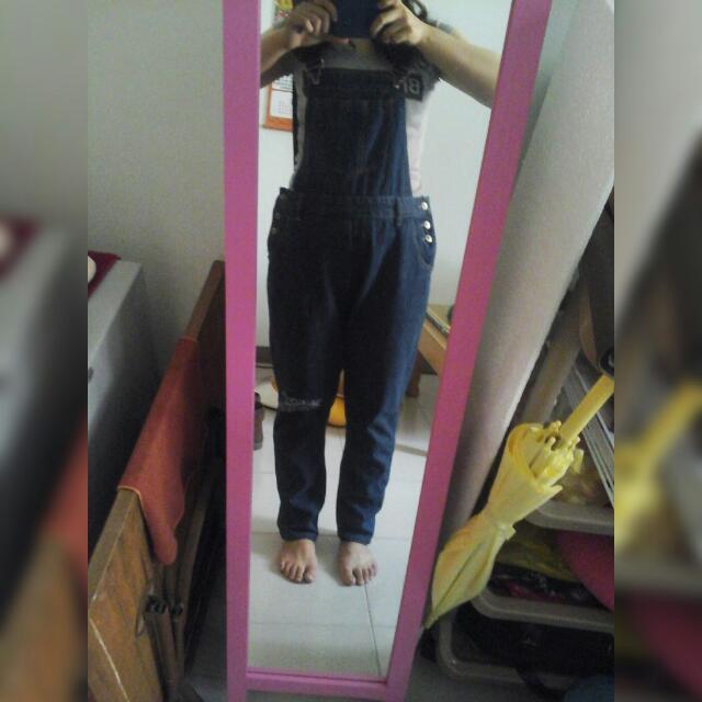 降👇牛仔吊帶褲(XL)