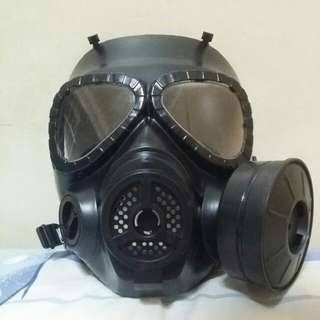 Black 1 Sided Cannister Gas Mask With Clear See Through Eye Goggle Panel