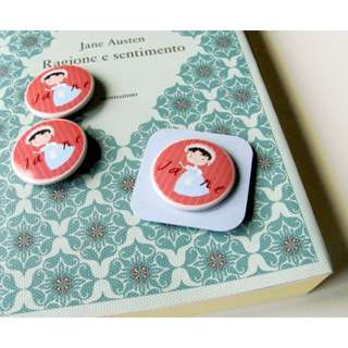 Jane Austen pin, illustrated button pin for the Jane Austen addicted