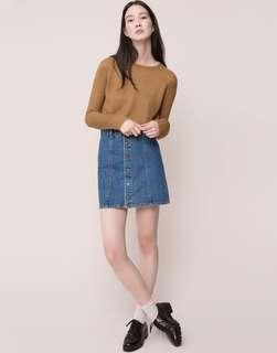 Pull & Bear 單排扣 丹寧牛仔短裙 A字裙 藍色 Size L 價格含運