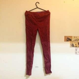 內搭褲 伸縮彈性內搭褲 暗紅色 低調紅 長褲 口袋 鬆緊帶