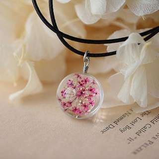 Pressed Flower Globe Necklace