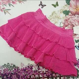 ✨日本製毛巾布荷葉滾邊裙擺短裙子/螢光綠/亮桃紅