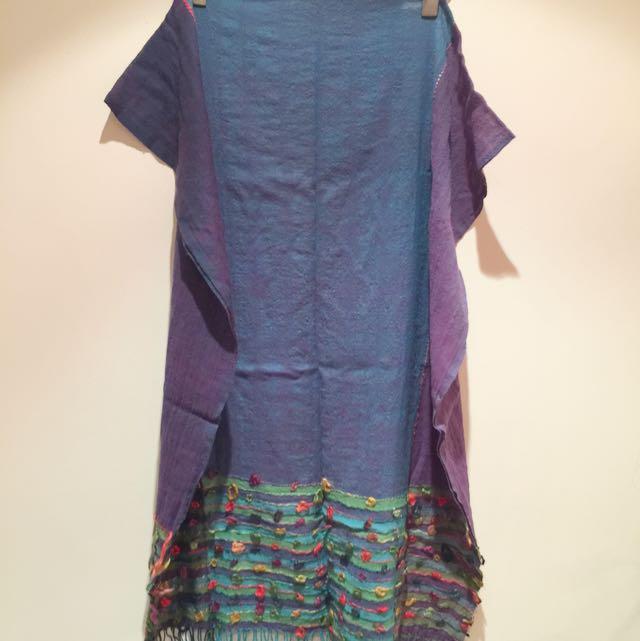 藍紫配色羊毛圍巾長190cm,寬70cm
