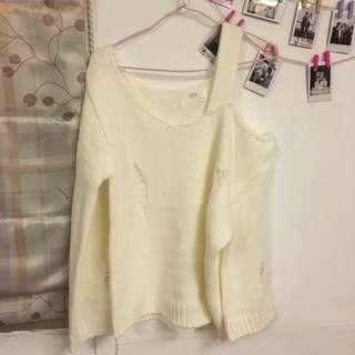 正韓露肩厚針織衣(白色)