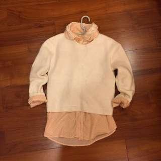白色毛衣+點點粉橘襯衫