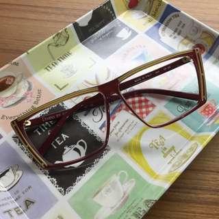 特價!義大利製 古董眼鏡 酒紅 方形 塑料 水鑽裝飾