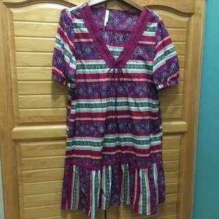 (出清) 古著 民族風連身裙