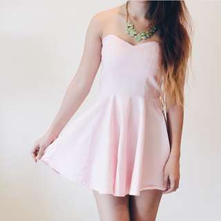 Baby Pink Heart Strapless Dress