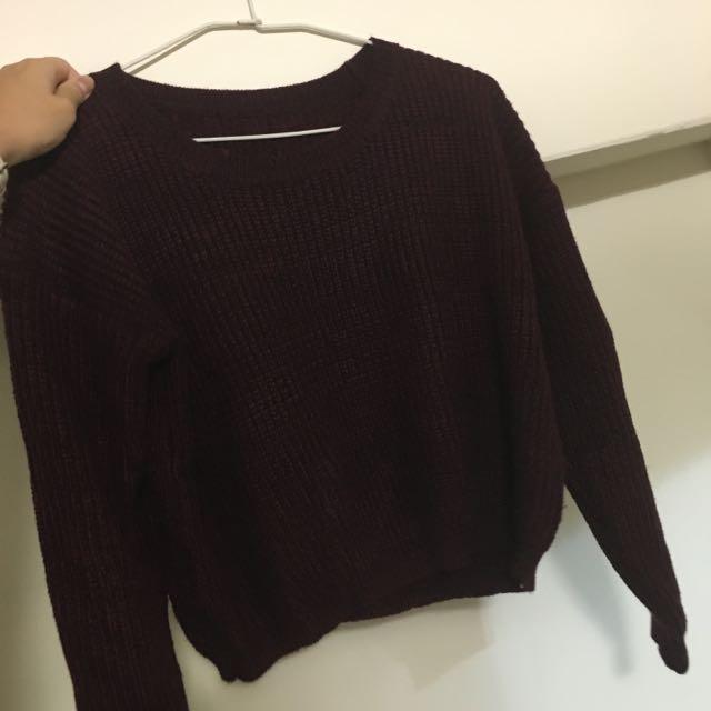 酒紅短版毛衣