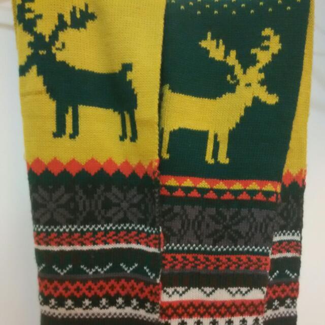 雙色聖誕麋鹿圍巾
