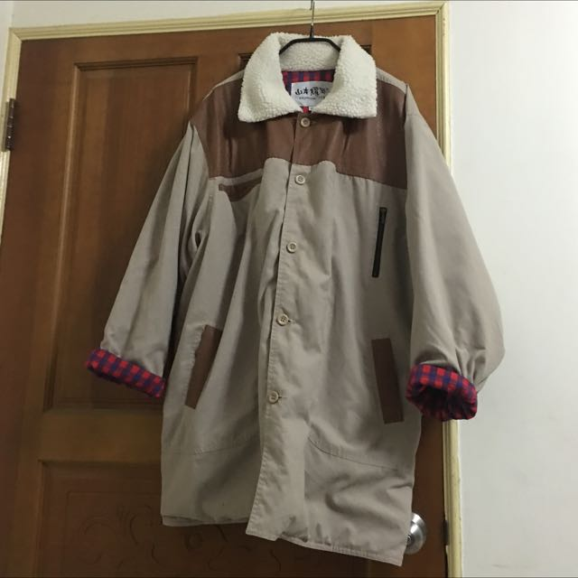 皮革拼接長版外套