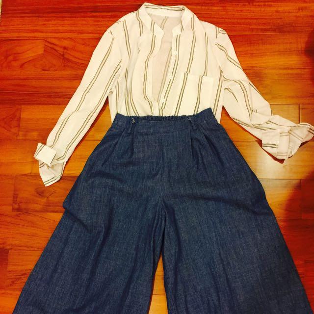 !!兩件一起賣!!條紋襯衫+牛仔寬褲