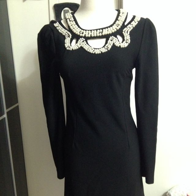 正韓 珍珠氣質洋裝
