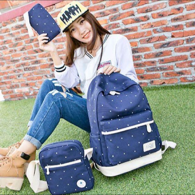 日韓版 帆布學院風 印花背包三件組