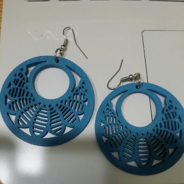 墾丁 木雕 手工耳環 重掛式 飾品 藍耳環