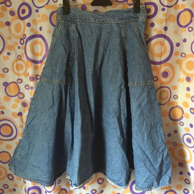 實穿圖-古著做舊水洗高腰牛仔A字母半身9分長裙