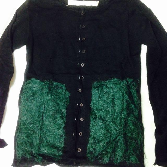 a la sha黑色設計款針織毛衣