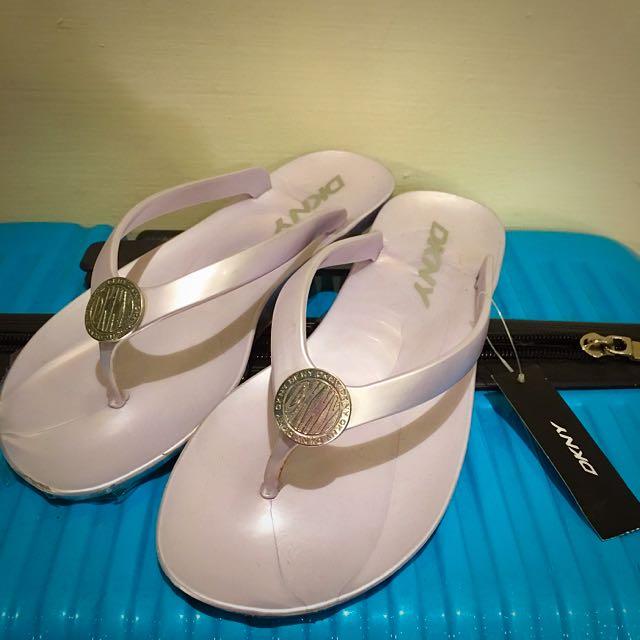 DKNY 銀色 夾腳拖鞋 夾腳 拖鞋 全新