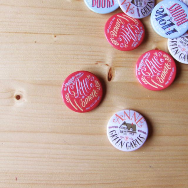 Little Women button, hand lettering pin