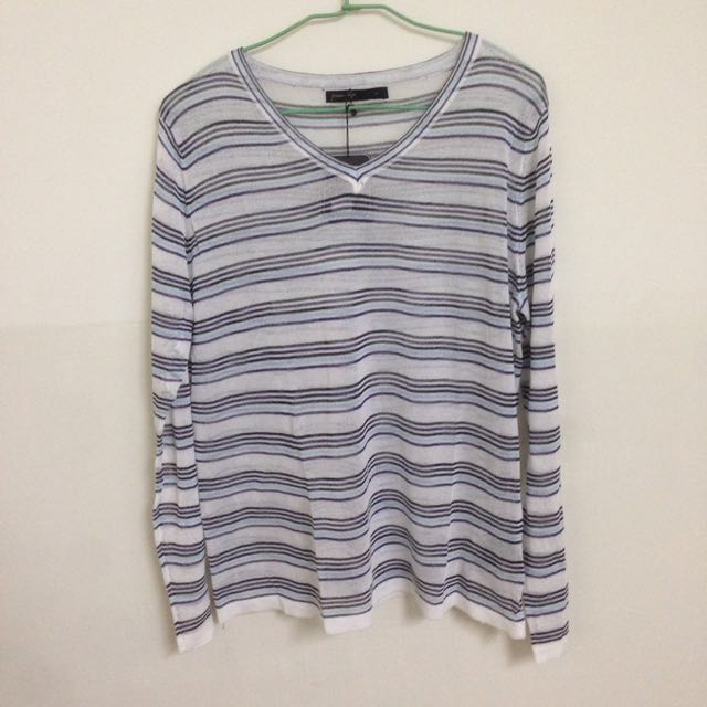 Queen Shop 配色條紋微透針織衫