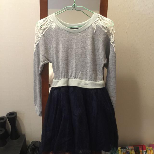 日牌ROJITA假兩件式毛衣紗裙洋裝