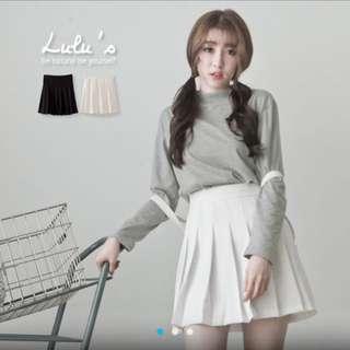 [全新]Lulus 後鬆緊百褶短裙(白)