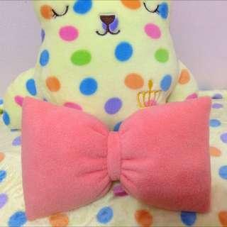 手工蝴蝶結貓草枕頭