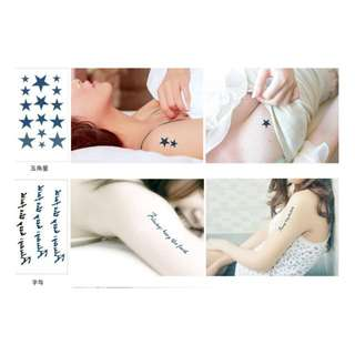 防水個性男女通用紋身貼紙 小貓 六角形 五角星 鑽石 微笑 燕子 防水紋身貼紙