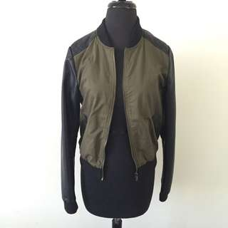 Leather & Military Look Bomber Jacket