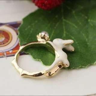 復古珐瑯小兔戒指