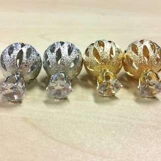 Korean Double Sided Ear Studs! Elegant Bling Earrings!